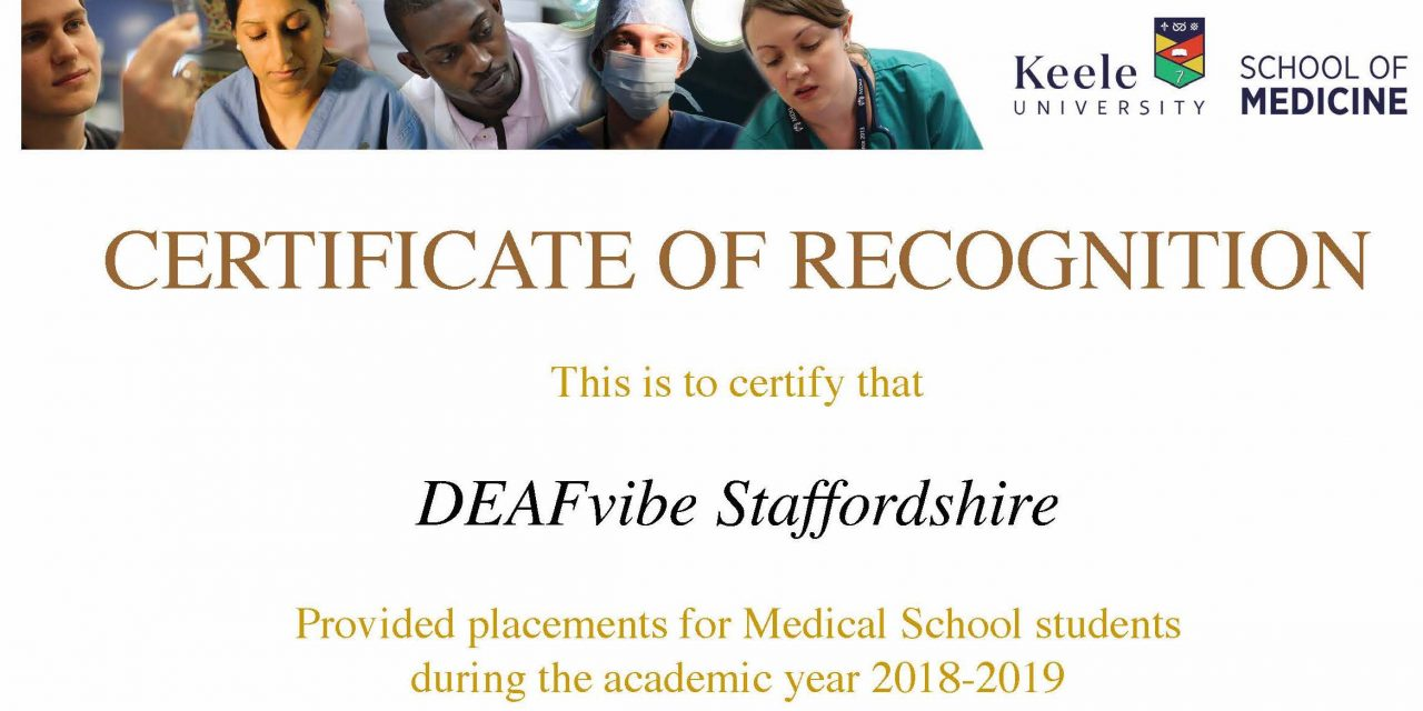 Keele University Certificate of Recognition 2018-19